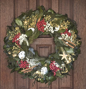 Winter Harbor Preserved Coastal Holiday Wreath - Nautical Luxuries