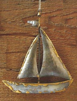 Rustic Metal Sailing Sloop Christmas Ornaments