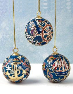 Cloisonne Nautical Ball Ornament Set