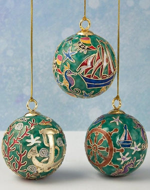 Cloisonne Nautical Ball Ornament Set - Nautical Luxuries