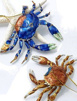 Cloisonné Coastal Crab Ornaments