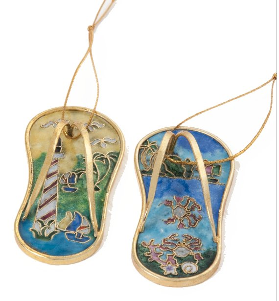 Cloisonne Enamel Flip Flop Ornament Set - Nautical Luxuries