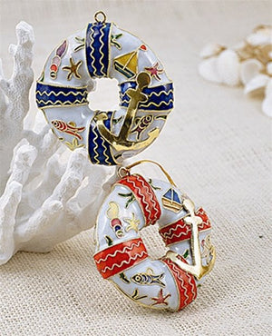 Cloisonne Life Preservers Ornament Set - Nautical Luxuries