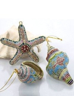 Cloisonne Seashells Ornaments - Nautical Luxuries