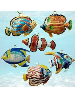Cloisonne Tropical Reef Fish Ornaments - Nautical Luxuries