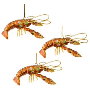 Articulated Cloisonné Reef Lobster Ornaments - Nautical Luxuries