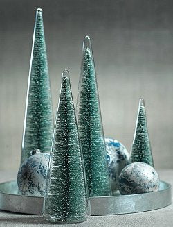 Seaside Teal Glass Encased Tree Set