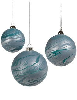 Silver Seas Glass Ball Ornament Sets - Nautical Luxuries