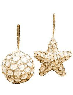Pearl Gem Clamrose Shell Ball & Star Ornament Set