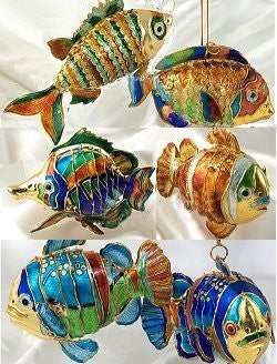 Cloisonne Enamel Articulated Tropical Fish Ornament Set