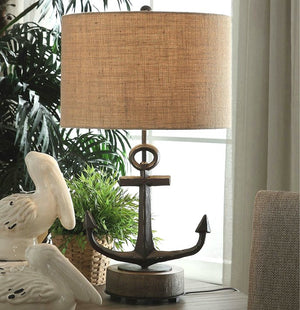 Rustic Anchor Table Lamp - Nautical Luxuries