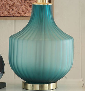 Turquoise Frost Glass Table Lamp - Nautical Luxuries