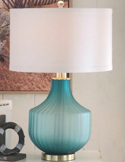 Turquoise Frost Glass Table Lamp