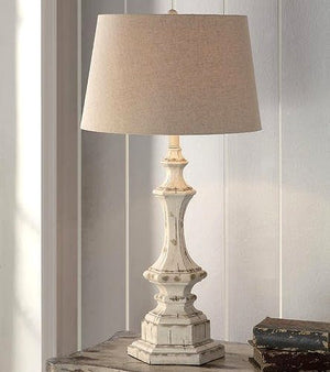 Classic Beach Cottage Whitewashed Table Lamp - Nautical Luxuries