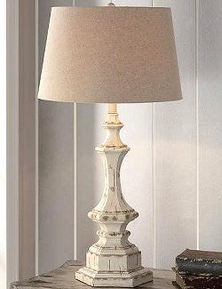 Classic Beach Cottage Whitewashed Table Lamp