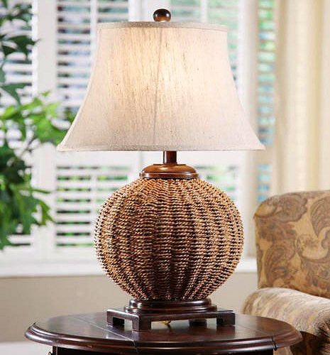 Bamboo Oval Table Lamp: Tradewinds Woven Wicker Table Lamp