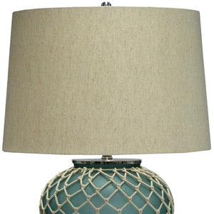 Aqua Blue Frosted Glass Netted Table Lamp - Nautical Luxuries