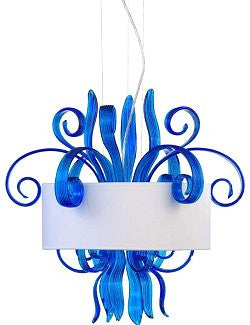 Exotic Blue Moon Jellyfish Glass Pendant Light - Nautical Luxuries