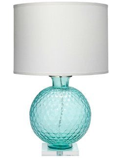 Bubbling Turquoise Glass Table Lamp - Nautical Luxuries