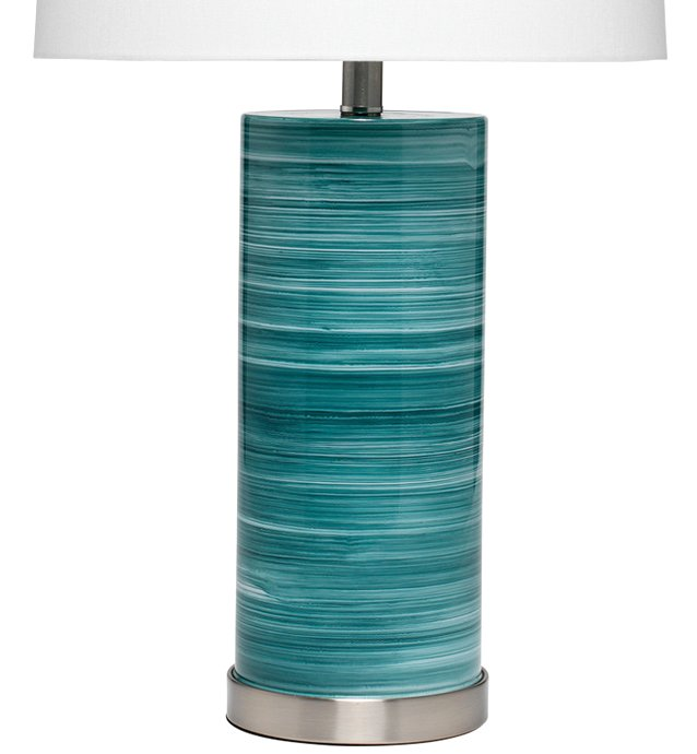 Striated Sea Depths Glass Table Lamp - Nautical Luxuries