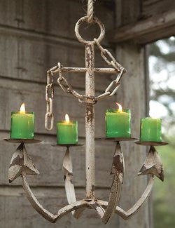 Rustic Anchor Pillar Candle Chandelier