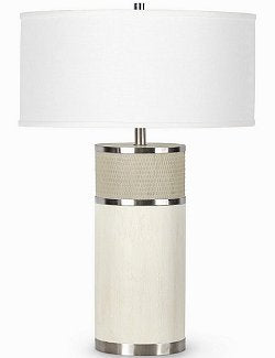 White Wash Coastal Column Table Lamp - Nautical Luxuries