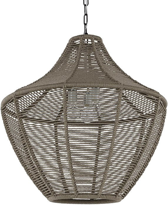 Indoor/Outdoor Slate Brown Rope Weave Pendants - Nautical Luxuries