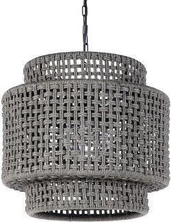 Indoor/Outdoor Rope Basketweave Drum Pendant - Nautical Luxuries