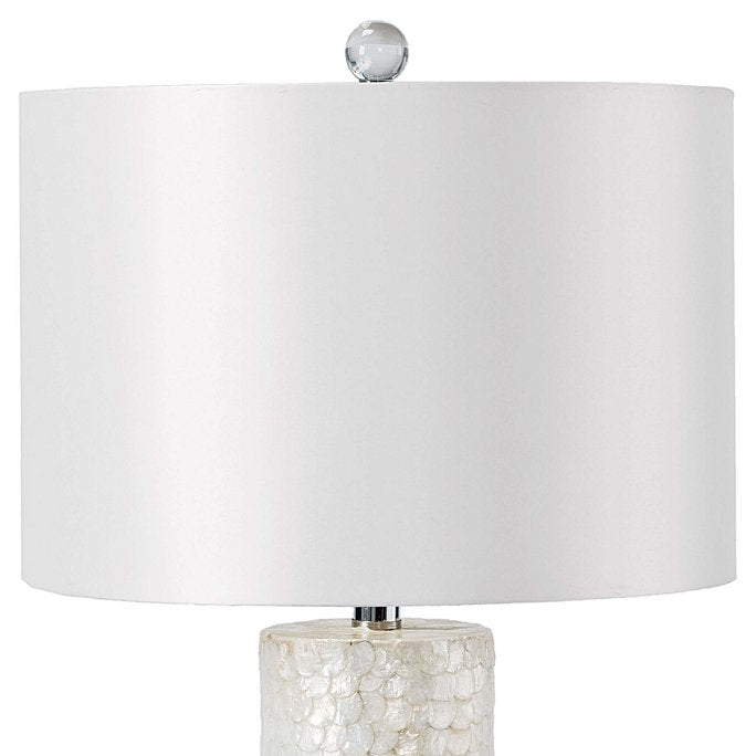 Scalloped Capiz Shell Tall Column Lamp