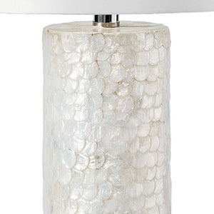 Scalloped Capiz Shell Tall Column Lamp - Nautical Luxuries