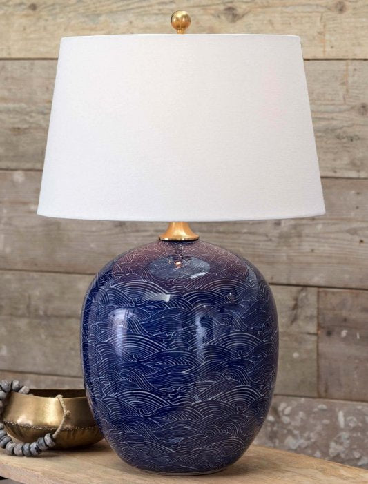 Indigo Waves Ceramic Table Lamp - Nautical Luxuries