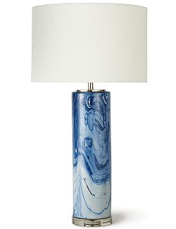 Marbled Waters Column Table Lamp - Nautical Luxuries