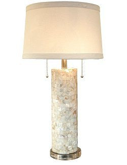 Coastal-Chic Mother Of Pearl Column Lamp