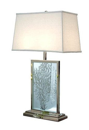 sea glass table lamps etched glass sea fan table lamp nautical luxuries 5091