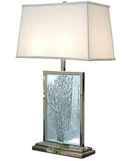 Etched Glass Sea Fan Table Lamp
