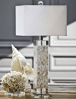 Mother of Pearl Parquet Square Column Lamp