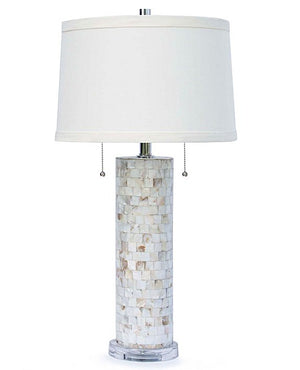 Coastal-Chic Mother Of Pearl Column Lamp - Nautical Luxuries