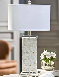 Mother of Pearl Flat Column Table Lamp - Nautical Luxuries