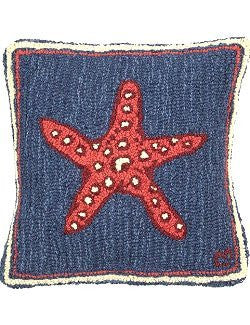 Spotted Starfish Hooked Wool Pillow