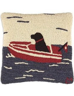 Runabout Dog at Sea Hooked Pillow