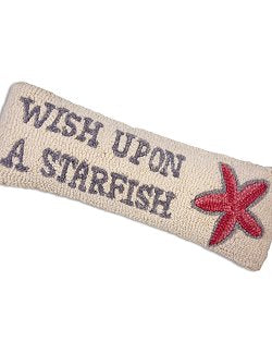 Starfish-Wish Hooked Wool Accent Pillow - Nautical Luxuries
