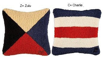 Hooked Wool Code Flag Pillows