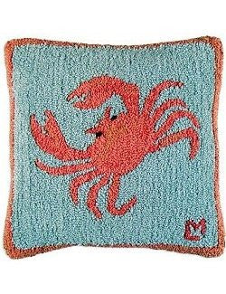 Prancing Crab Hooked Wool Pillow