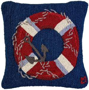 Hooked Wool Life Ring Pillow - Nautical Luxuries