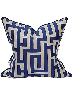 Indigo Maze Coastal Lifestyle Pillow - Nautical Luxuries