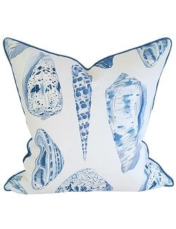 Blue Coquilles Linen Pillow - Nautical Luxuries