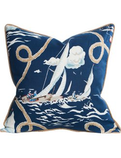 Wooden Boat Regatta Nautical Pillow - Nautical Luxuries