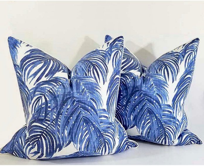 Island Blue Palms Pillow - Nautical Luxuries