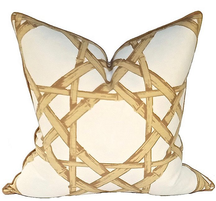 Bamboo Cane Linen Coastal Lifestyle Pillow - Nautical Luxuries