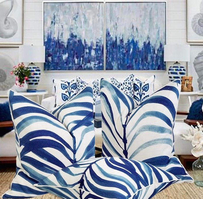 Cobalt Calypso Palm Fronds Pillow - Nautical Luxuries